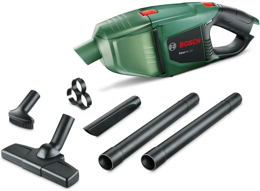 Bosch EasyVac 12 - Aspirador manual a batería, 12 V, 2,5 Ah, 3 boquillas Capacidad de colector de polvo 380 ml, Verde