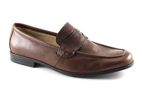 LEÓN 20685 Zapatos Marrones Hombre Tabaco Mocasines de Cuero antiestático 45: Amazon.es: Zapatos y complementos