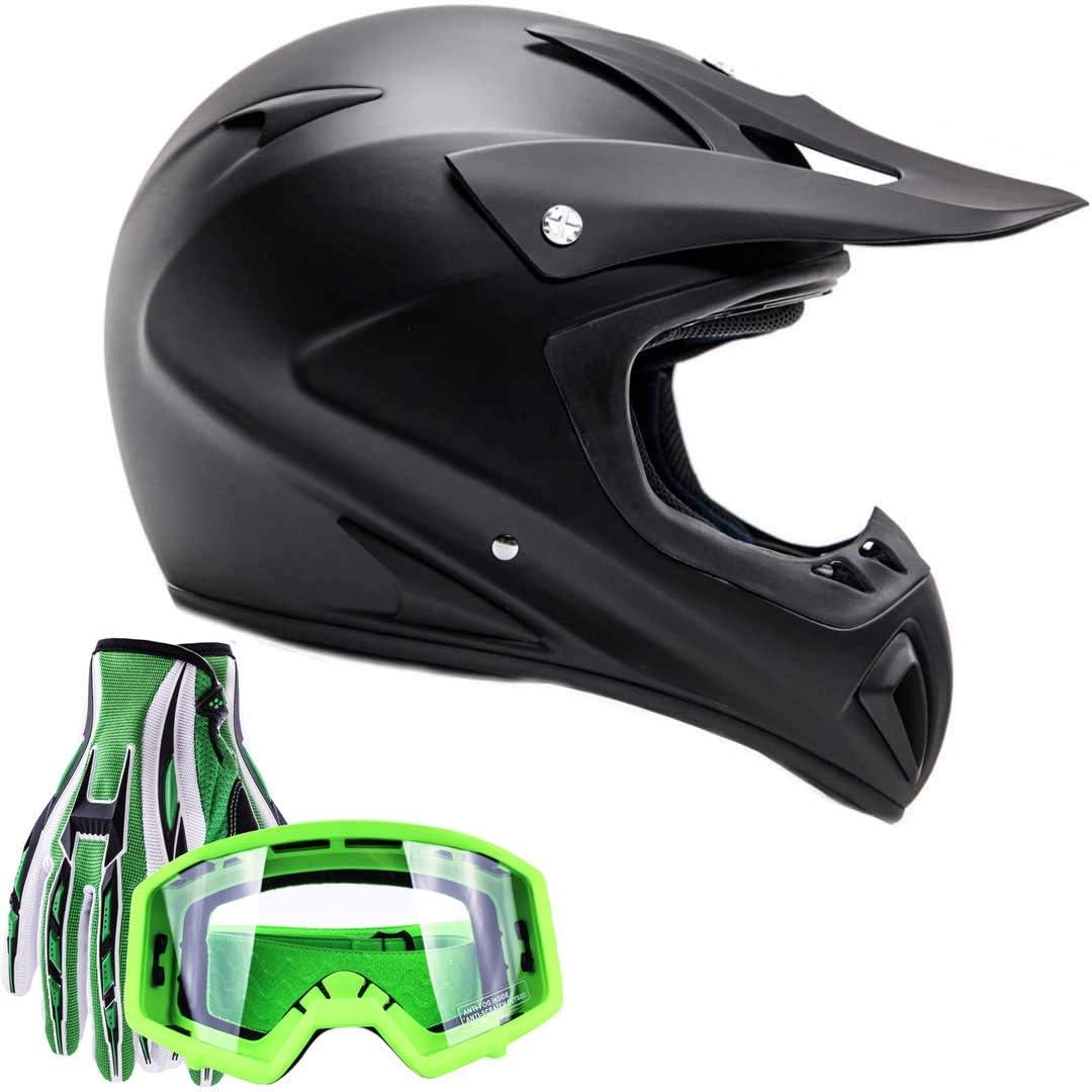 Typhoon Adult ATV MX Helmet Goggles Gloves Gear Combo Matte Black Medium