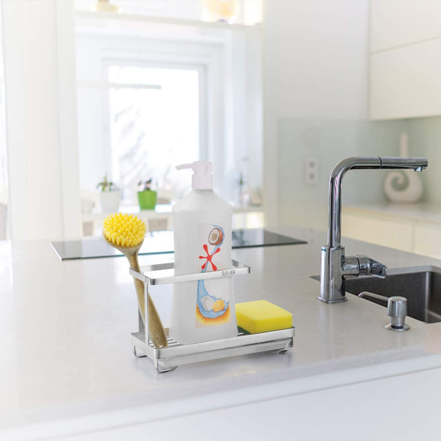 Black Oyydecor Kitchen Sink Caddy Organizer with Drain Pan Sponge Soap Brush Holder SUS304 Stainless Steel