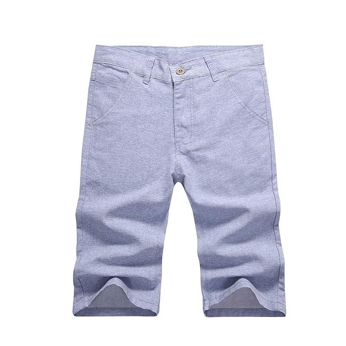 NINGNETI Pantalones Cortos de Lino de Verano para Hombres ...