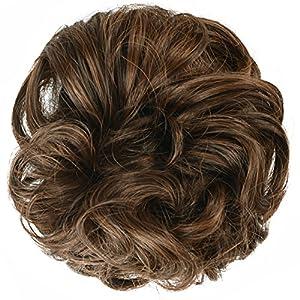 FESHFEN Scrunchy Scrunchies Hair Bun Updo Hair Ribbon Ponytail Extensions Hair Extensions Wavy Curly Messy Extensions Donut Hair Chignons Hair Piece - A10 Medium Brown & Light Auburn Mixed