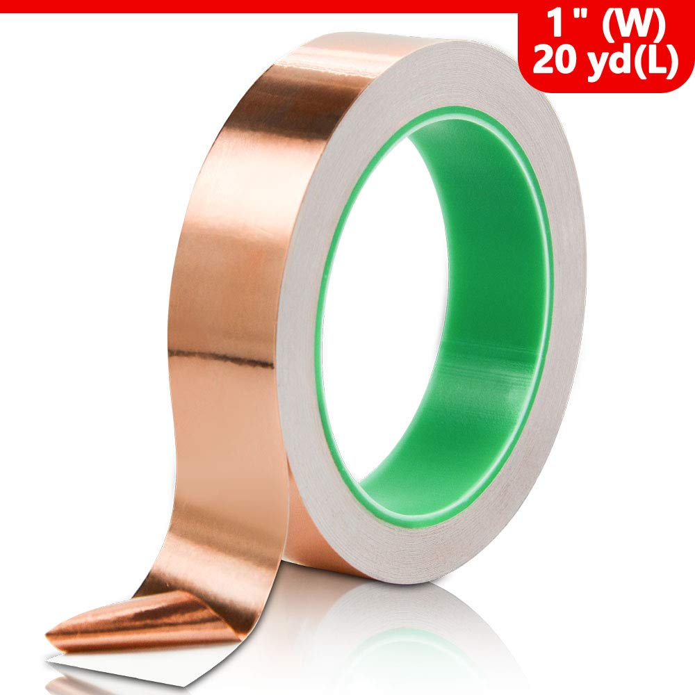 Copper Foil Tape with Double-Sided Conductive for Guitar Grounding and Crafts EMI Shielding Paper Circuits Stained Glass Electrical Repairs Soldering