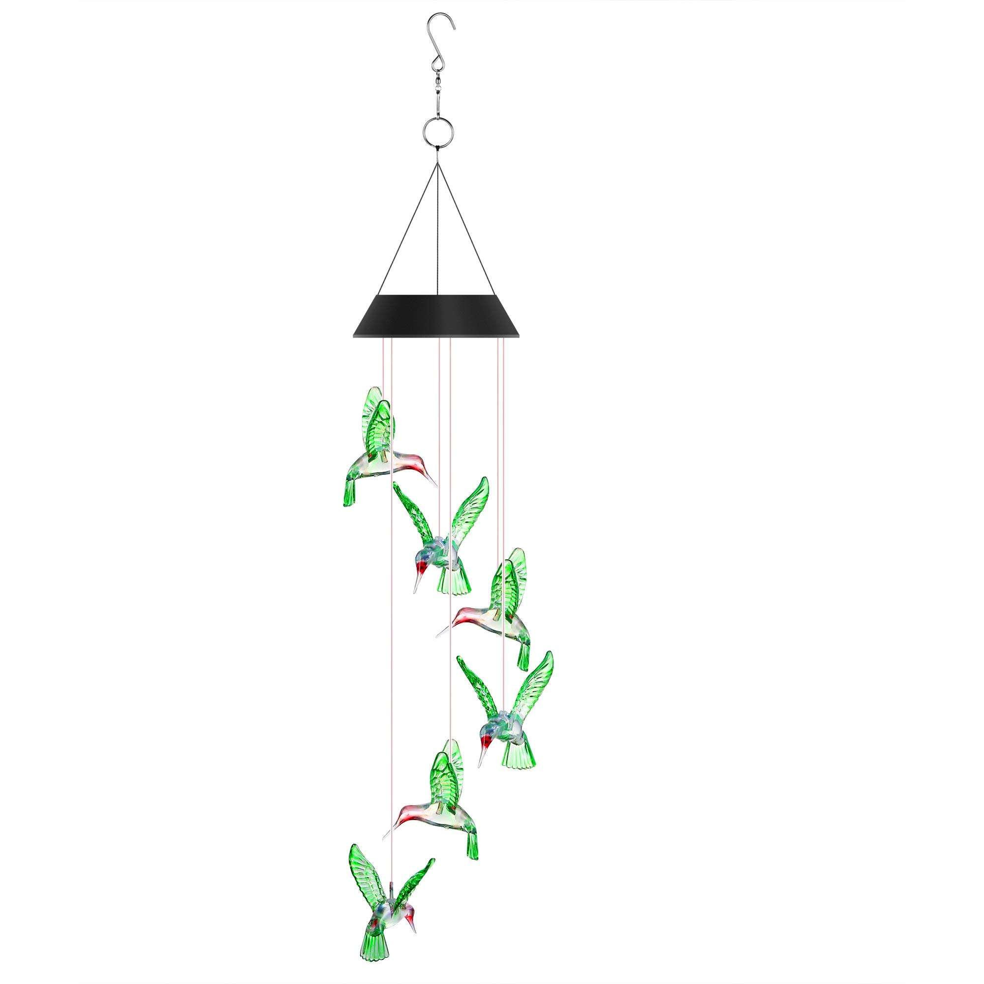 Junxiongshiji Solar Wind Chime Color-Changing LED Lights Mobile Six Hummingbird Solar Wind Chimes for Outdoor Furniture Party Night Garden Patio Home Decoration