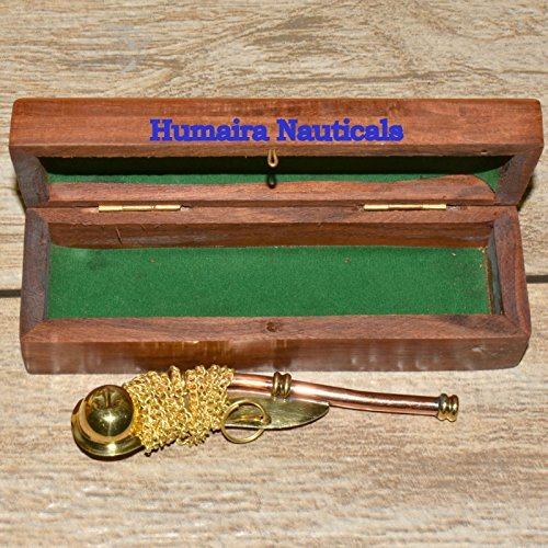 Nautical Maritime Brass/Copper Boatswain Whistle~Bosun Call Pipe~with Wood Box