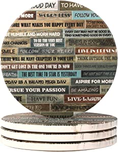 Lahome Natural Wooden Letters Coasters - Round Drinks Absorbent Stone Coaster Set with Ceramic Stone and Cork Base for Kinds of Mugs and Cups (Wooden Letters, 4)