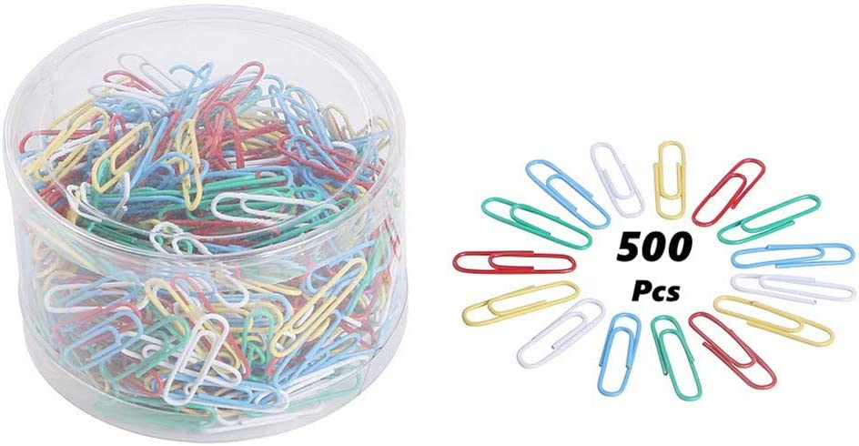 WJIASI Coloured Paper Clips 500 Pcs Plastic-Coated Paperclips Paper Clamps for Office Stationery Office Clips with Box,33mm