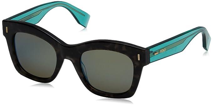 Fendi Damen Sonnenbrille FF 0025/S 3U 7OF, Grau (Gryspt Trgrn/Khaki Grey Speckled Blue), 50
