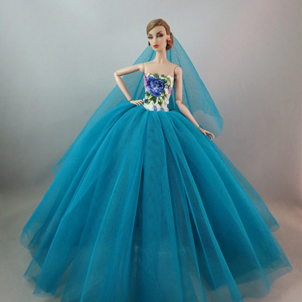 Amyove Doll Clothing Elegant Evening Wear Princess Large Tailed Wedding Dress Noble Party Gown for Barbie Doll Outfit Best Gift Best Gift for Kids Printed water blue
