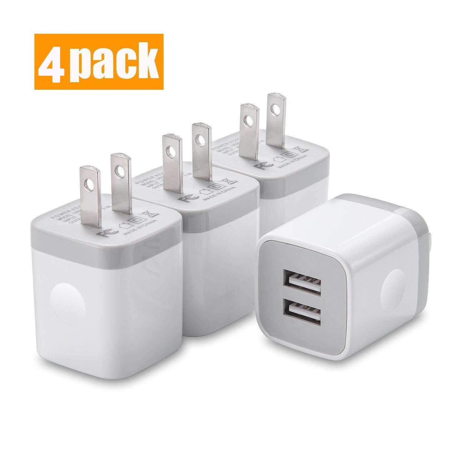 USINFLY USB Wall Charger, UL Certified 4-Pack 2.1A/5V Dual Port USB Plug Charger Block Power Adapter Charging Cube Compatible with iPhone Xs/Xs Max/XR/X/8/7/6 Plus, Samsung, Android, and More(White)