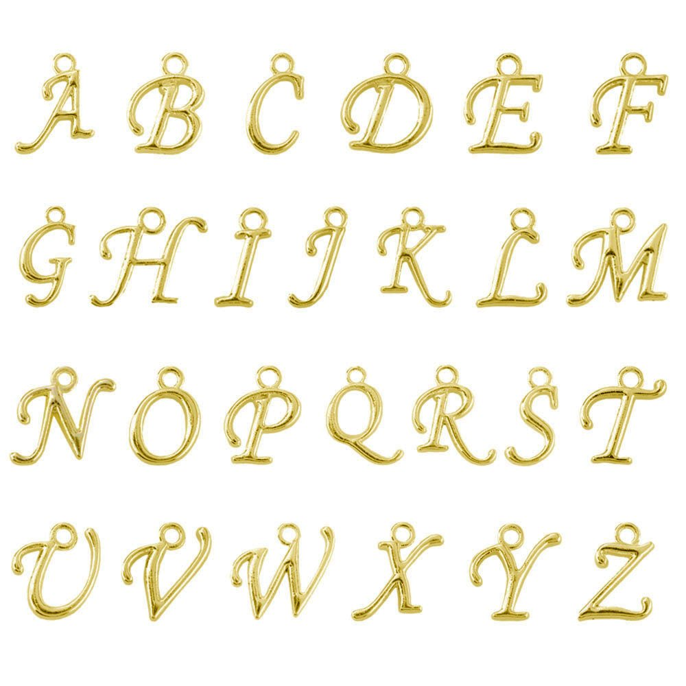 Amazon beadnova 13 14mm gold plated alphabet a z letter amazon beadnova 13 14mm gold plated alphabet a z letter charms pendant loose beads set for jewelry making 100pcs jewelry mozeypictures Gallery