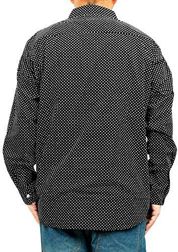 長袖シャツ メンズ 大きいサイズ ポケット付き コットン カジュアル ドットシャツ 【3L~10Lサイズ】