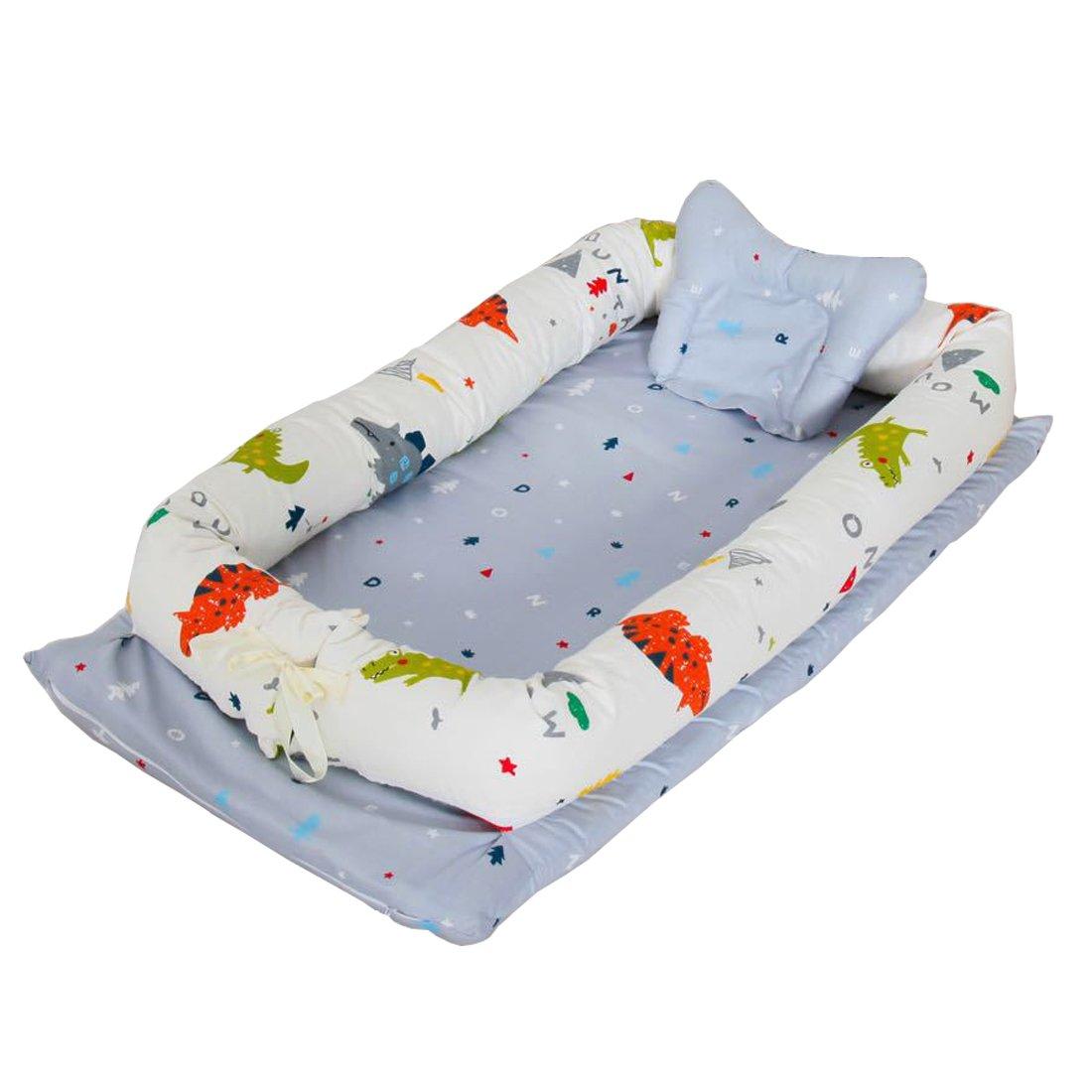 DorkasDE Babynest Kuschelnest Faltbett tragbar Babybett Reisebett (one size, Blau)