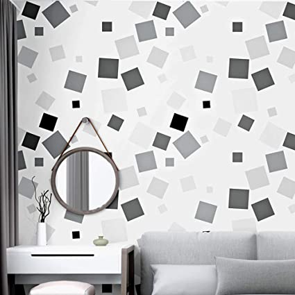 Gray Wallpaper Background Black And White Plaid Geometric Bedroom