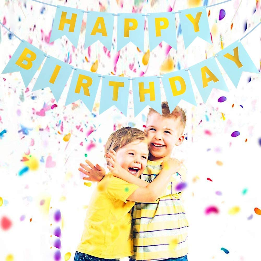 Light Blue Happy Birthday Banner for Boys and Men Bunting Banner with Shiny Gold Letters Party Decorations and Supplies Gold Glitter Happy Birthday Sign