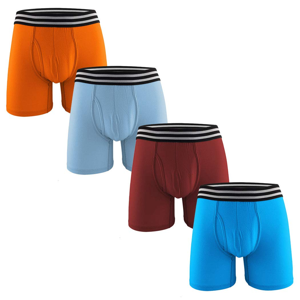 MIZOO Men s Cotton Classic Pouch Boxer Briefs with Open Fly Underwear - 4  Packs product image 4655840667ef