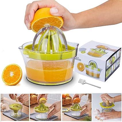 4 en 1 Exprimidor de Cítricos Manual, Yoyika Exprimidor de Mano Portátil para Naranja Limón