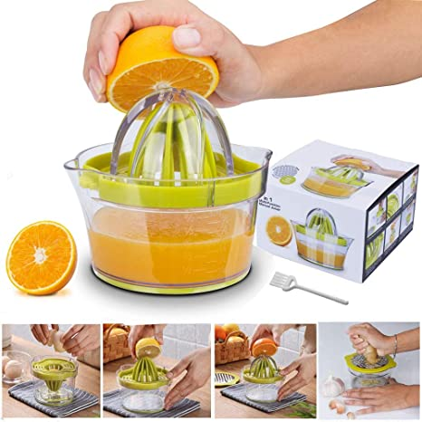 Yoyika 4 en 1 Exprimidor Zumo Manual, Exprimidor de Mano Portátil para Naranja Limón Lima