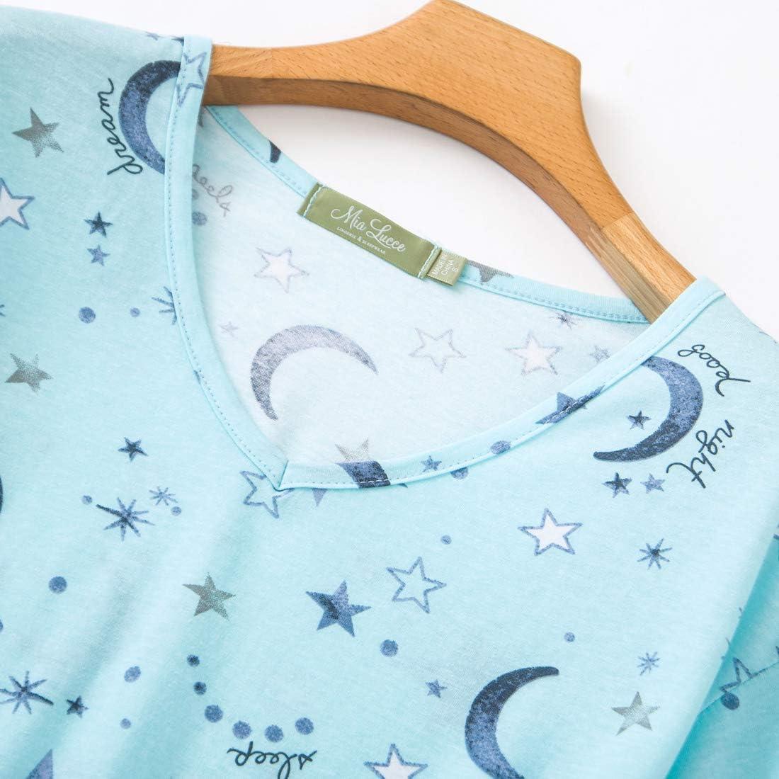 MIA LUCCE Womens Sleepwear Cute Print Short-Sleeve Tee and Shorts Pajama Sets