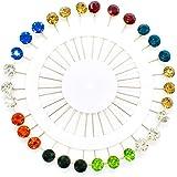 AUEAR 30 PCS Crystal Hijab Scarf Pins Brooch Straight Head Pins Sewing Snag Free Pins Wedding Pin for Women