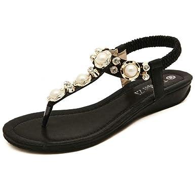 APTRO Damen Sandalen Sommerschuhe Sandalen Flach Zehentrenner Sandalen Freizeit Mädchen Sandalen DE 37(Asia 38) dggz4