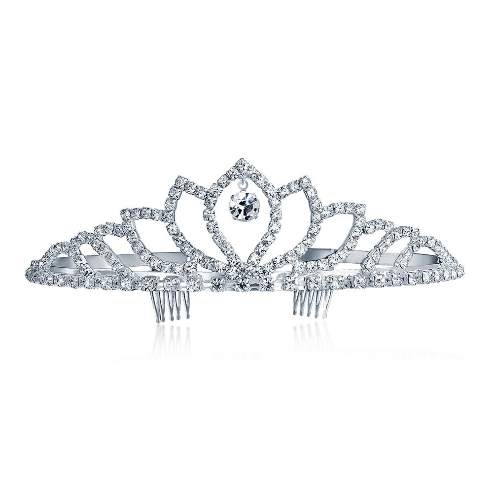 Bling Jewelry Crystal Drop Crown Bridal Tiara Silver Plated BB-0704