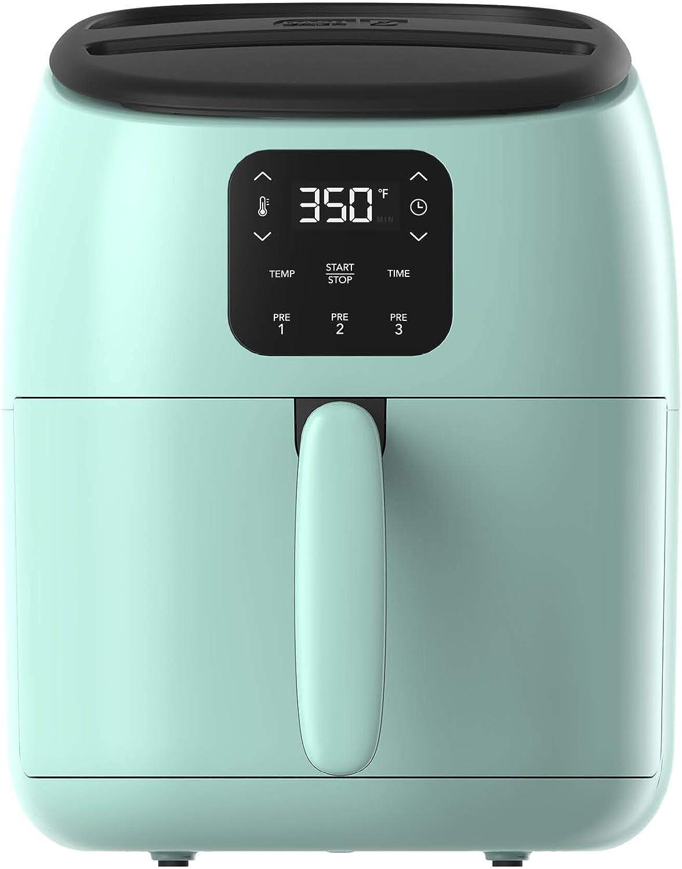Dash Tasti-Crisp™ Digital Air Fryer with AirCrisp® Technology, Custom Presets, Temperature Control, and Auto Shut Off Feature, 2.6 Quart - Aqua (Renewed)