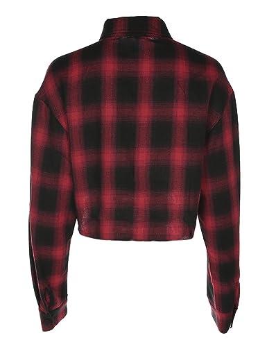 Blusa corta para mujer, Blusa estampada de cuadros con mangas largas, Blusas de moda para las mujeres: Amazon.es: Ropa y accesorios