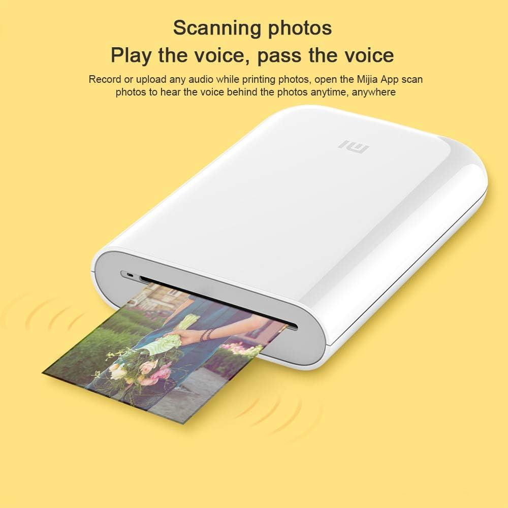 Impresora Fotográfica Portátil,para Xiaomi Mijia Impresora Fotográfica Inalámbric,Impresión Sin Tinta,AR Fotos,Compartir Bluetooth,5 x 7.6 cm,313 x 400 PPP,para Viaje,Cenas,Fiestas,Regalos (Printer)