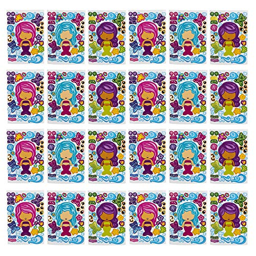 Kicko Make a Mermaid Sticker - Set of 24 Magical Sticker Sheet for Easter Basket Stuffer, Party Favors, School Activity, Group Projects, Arts and Crafts