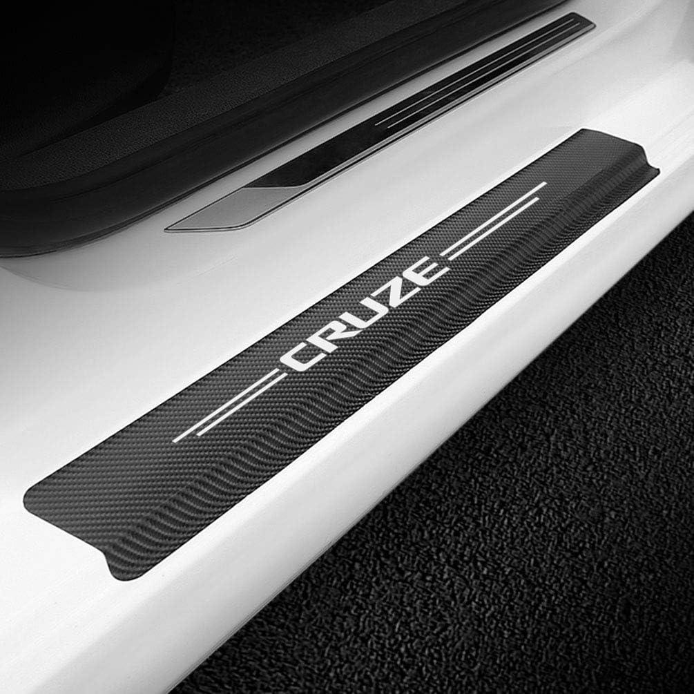 4pcs Carbon Fiber Protector Auto Door Threshold Plate Stickers for Chevrolet Cruze Car Door Sill Guards Cover Decor Non-Slip Anti-Scratch Accessories