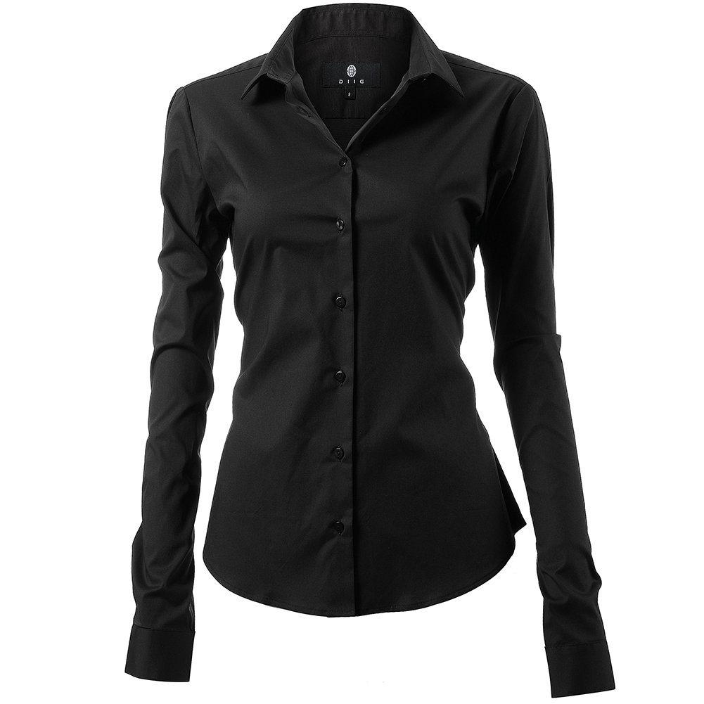 Harrms Shirts for Women Slim Fit Stretchy Cotton Black Button Down Shirts Size 8 by Harrms (Image #1)