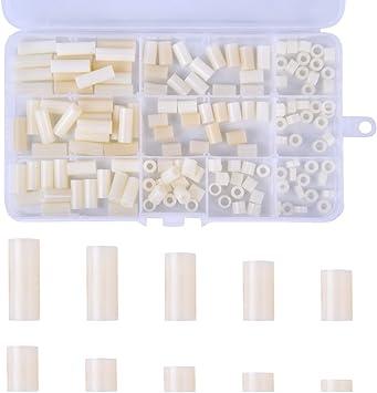 Loscrew - Juego de 150 espaciadores redondos de nailon y plástico, para tornillos M3 y M4 con caja de plástico: Amazon.es: Bricolaje y herramientas