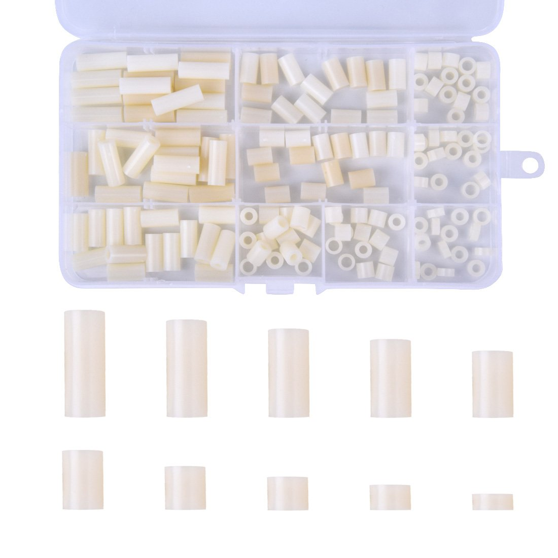 Hotusi 150Pcs Nylon Plastic Round Spacer Assortment Kit, for M3 and M4 Screws Come with Plastic Box