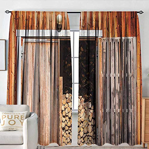 - Petpany Blackout Curtains Rustic,Rustic Barn with Firewood Countryside Village Storage Garden Rural Life Concept,Orange Brown,Rod Pocket Drapes Thermal Insulated Panels Home décor 72