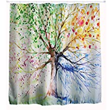 """Holidayli Multicolor Tree Waterproof Shower Curtain Sets Mildew Resistant Fabric Liner 3D Printing Bathroom Curtain Decor for Window(including 12 hooks) (72""""x 78"""")"""