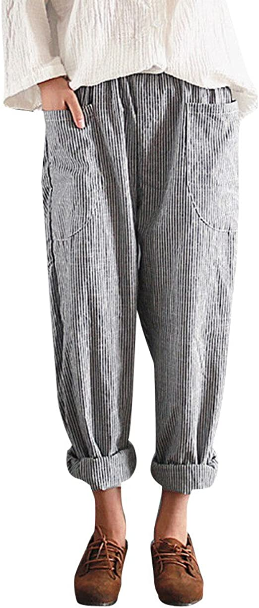 Womens Harlan Pants Cotton Linen Striped Print Ankle-Length Casual Elastic Waist Pockets Trousers
