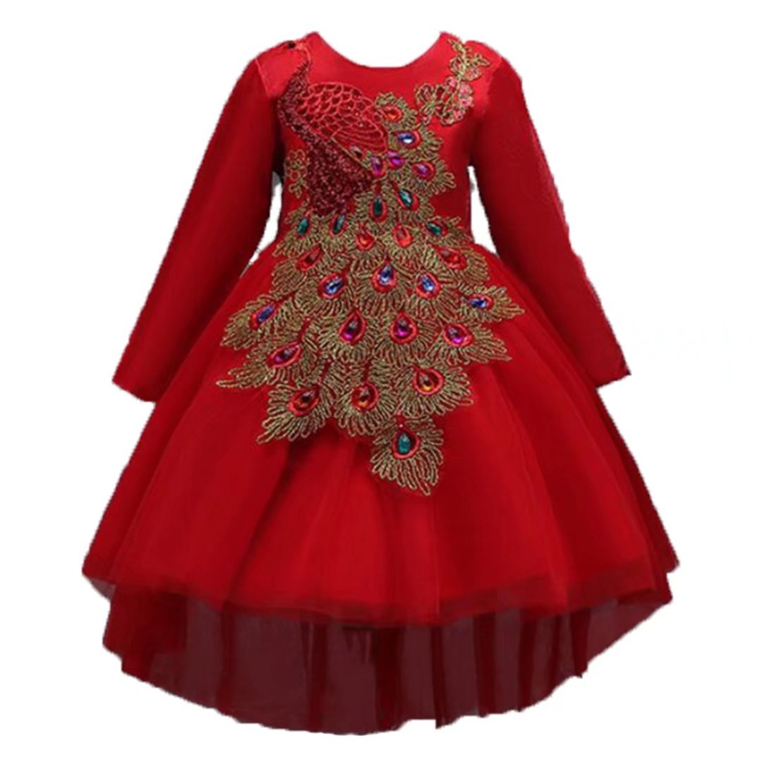 ADHS Kids Flower Girl Special Occasion Wedding Gowns Chinese Style Tailing Dresses