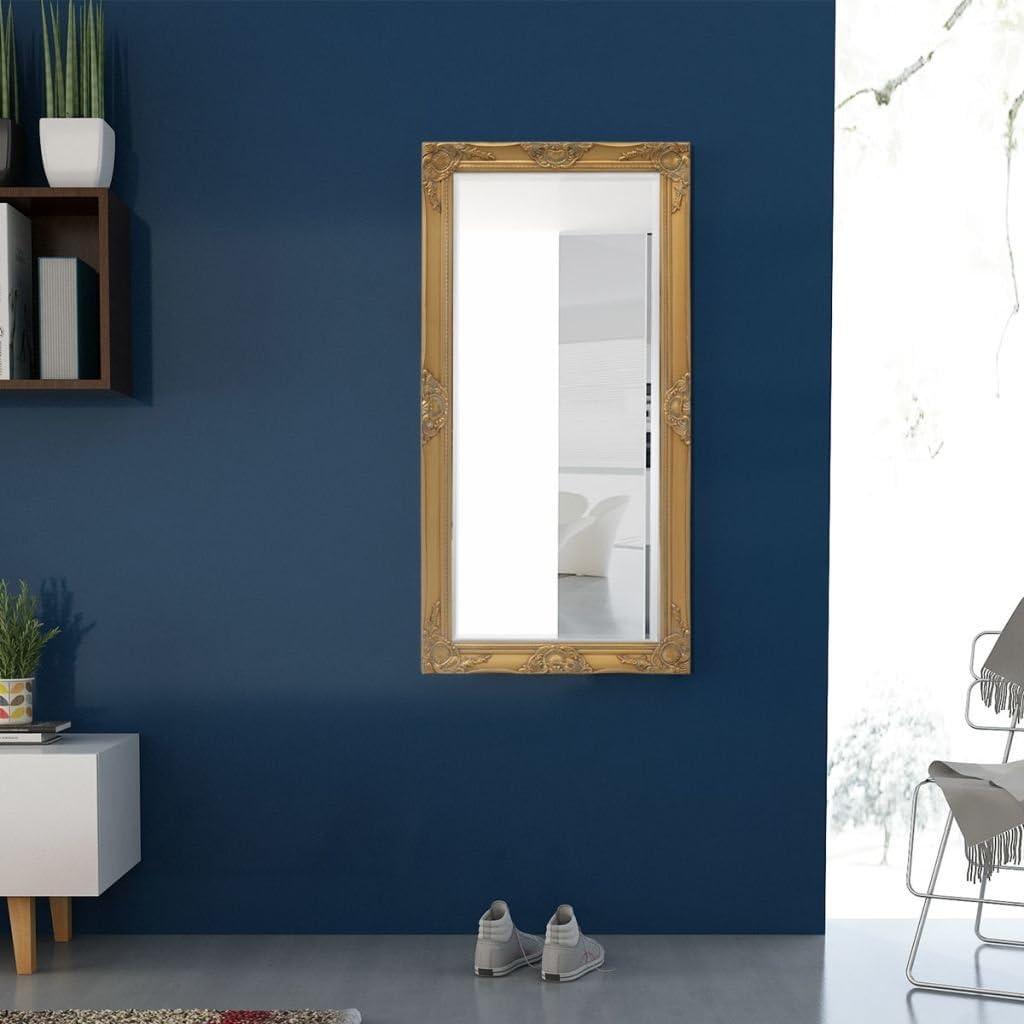 vidaXL Miroir Mural pour Chambre Salle de Bain Style Baroque 120 x 60 cm Noir