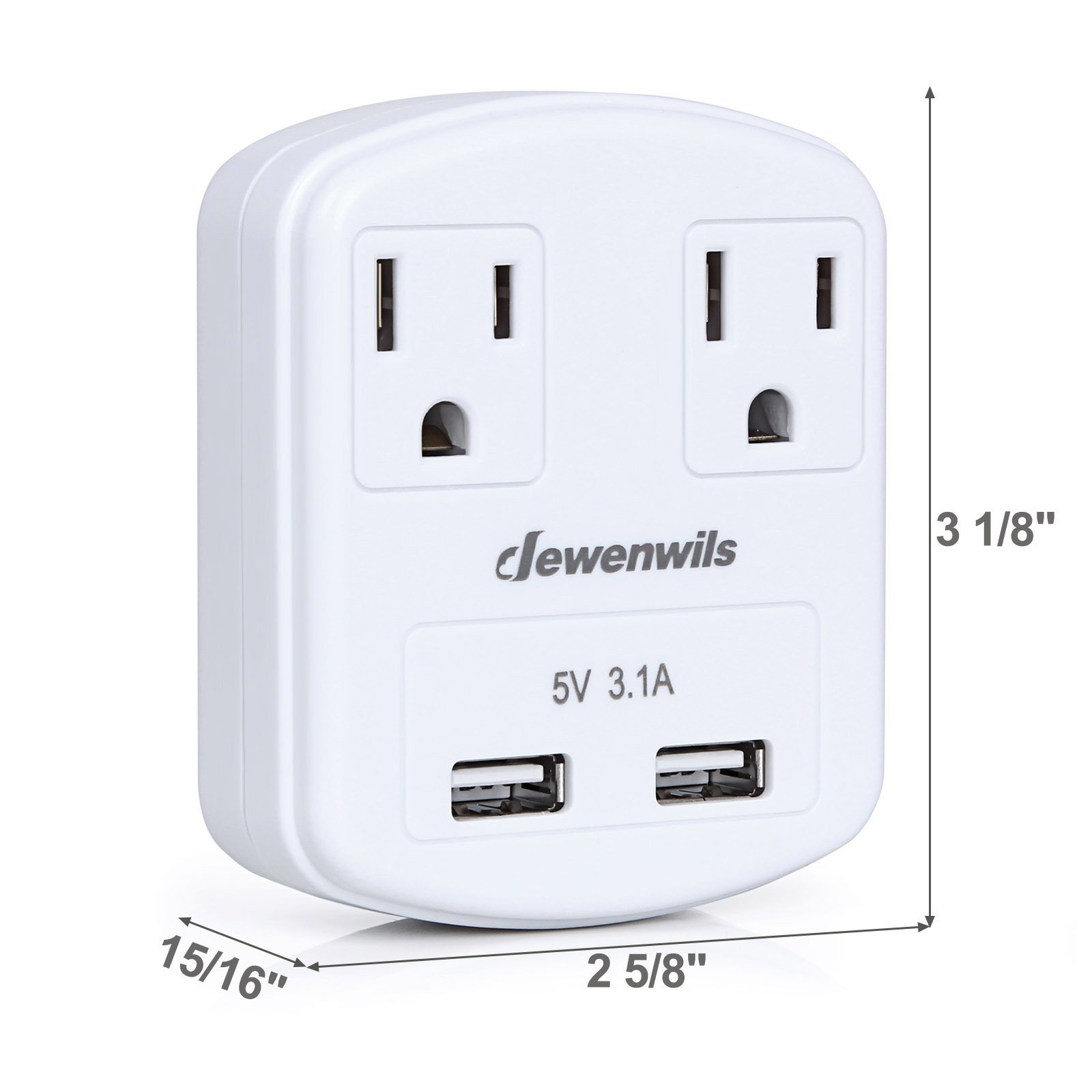 Dewenwils Multi Outlet Plug with 2 USB Ports (3.1A Total), Small Power Strip USB Charger for Cruise Ship/Hotel / Dormitory, Compatible with GFCI, ETL Listed, White by DEWENWILS (Image #7)