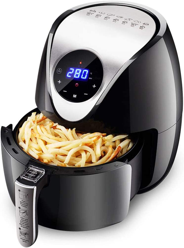 Digital Air Fryer 4.5L, 1500-Watt Compact Hot Air Fryers Oven and Oilless Cooker Digital Touch Screen and Temperature Control for Frying/Roasting/Baking/Grilling