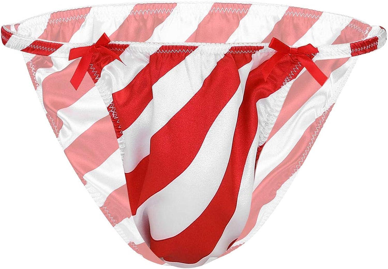 moily Mens Shiny Satin Bikini Breifs Sissy Candy Cane Stripes Bulge Pouch Trunks Underwear