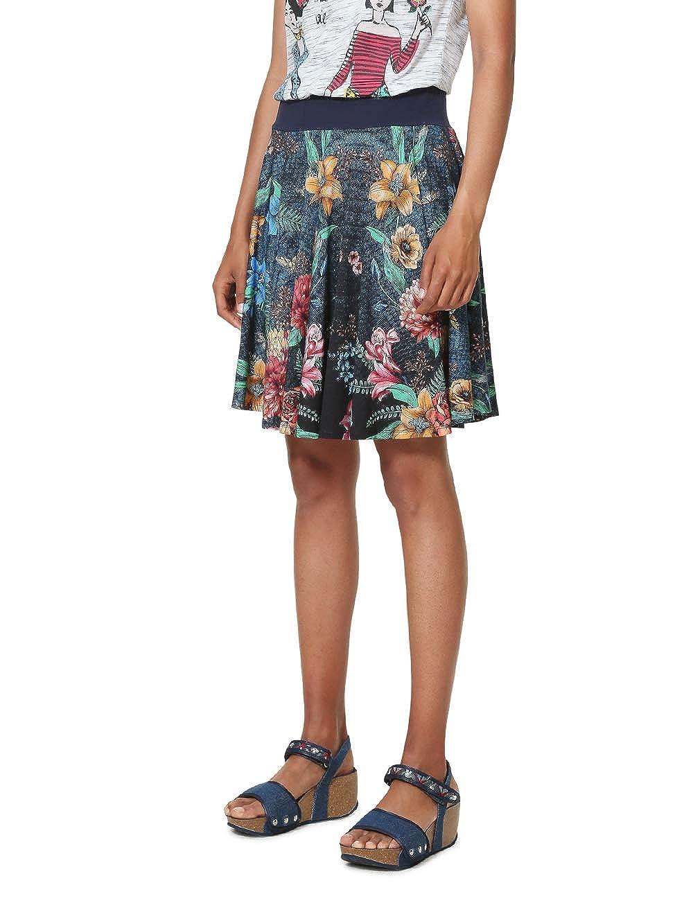 Desigual Skirt Short Curiosity Woman Blue Jupe Femme
