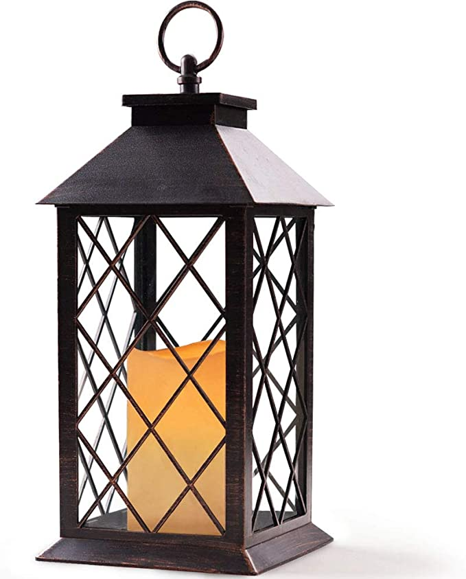 Bright Zeal 14 Tall Vintage Candle Lantern With Led Flickering Flameless Candles And Timer Distressed Bronze Led Candle Lanterns Decorative Indoor Outdoor Hanging Lights Candles Holders Bzs Home Kitchen Amazon Com