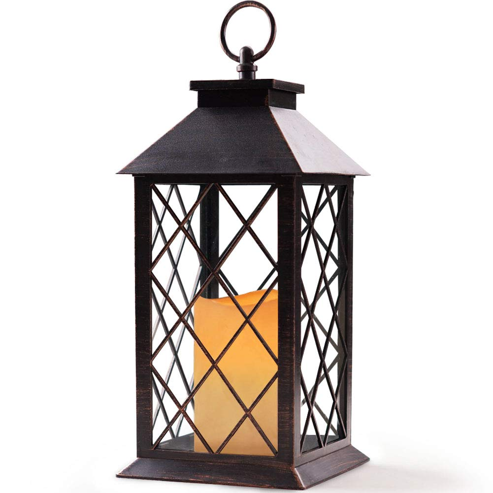 """Bright Zeal 14"""" Tall Vintage Candle Lantern with LED Flickering Flameless Candles and Timer (Distressed BRONZE) - LED Candle Lanterns Decorative - Indoor Outdoor Hanging Lights - Candles & Holders BZS"""