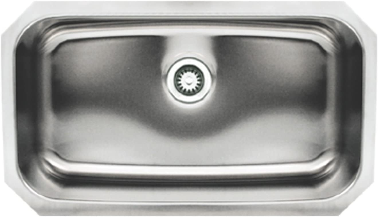 Whitehaus WHNU2918REC-BSS Noah s Collection 30-1 2-Inch Single Bowl Undermount Kitchen Sink, Brushed Stainless Steel
