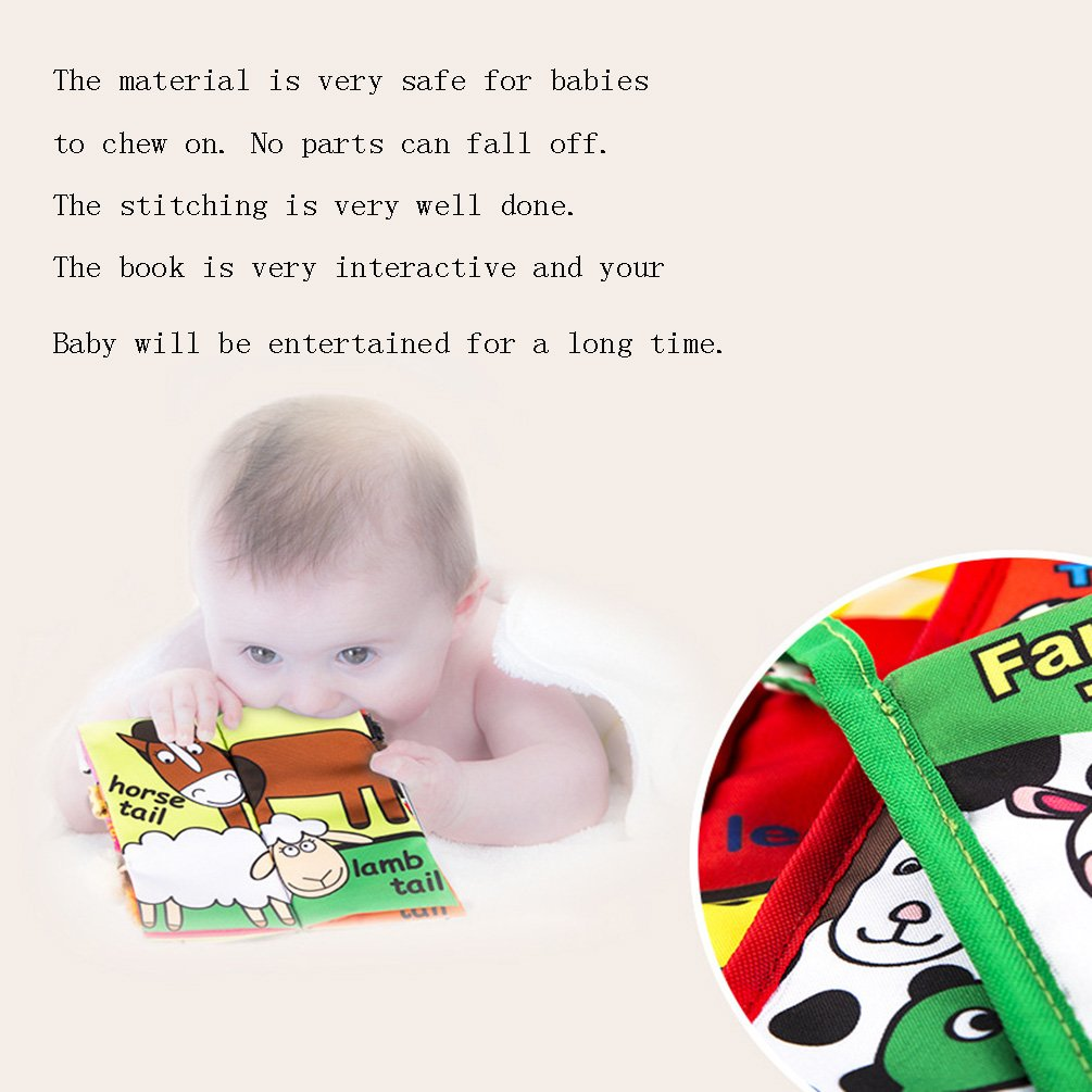 Leeotia Jungle Animal Tail Cloth Books// Fabric Activity Crinkle Book 1 Year Old Rain Forest Animal Tail Gift for Babies//Toddler Handmade Educational Toys for Baby