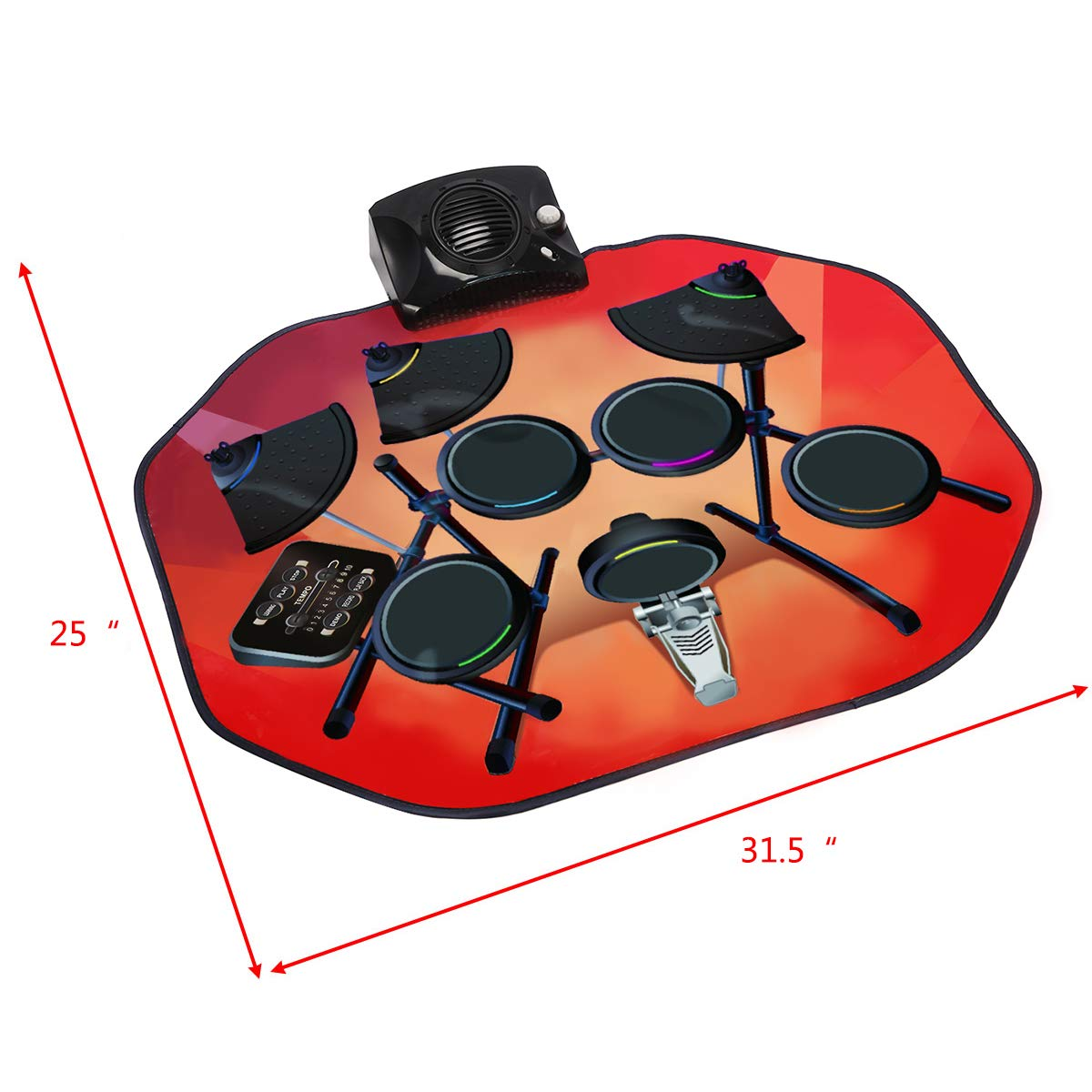 Costzon Electronic Drum Mat, 8 Keys Glowing Music Mat with LED Lights,MP3 Cable, Drumsticks, Support Play - Study-Record - Playback - Demo 5 Modes, Volume Control by Costzon (Image #6)