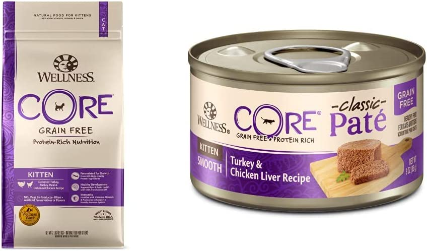 Wellness CORE Grain-Free Kitten Formula Dry Cat Food, 2 Pound Bag + Wet Canned Cat Food, Kitten Turkey & Chicken Liver, 3 Oz Can - 12-Pack