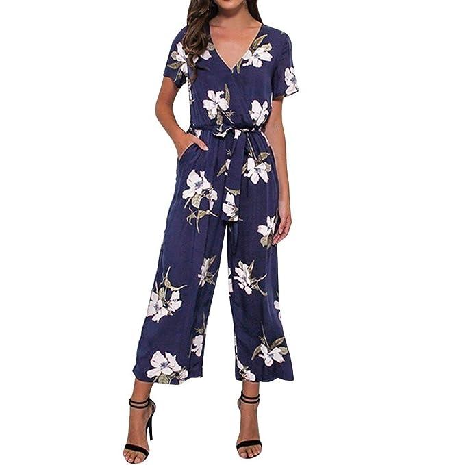 672f36a604b0 Orangeskycn Women Jumpsuits Elegant Wide Leg V Neck Loose Playsuit Party  Romper Short Sleeve Printed Jumpsuit